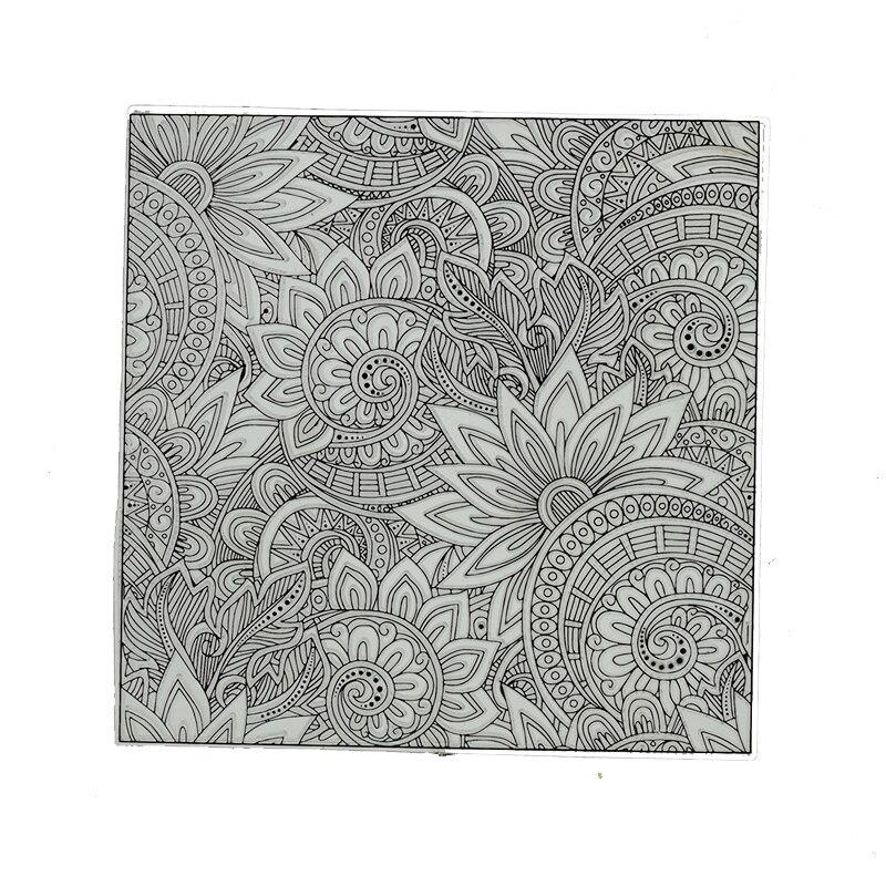 Mandala padrão de argila de polímero textura selo folhas arte argila artesanato suprimentos kits diy emboss design individual ferramentas cerâmica 9x9cm