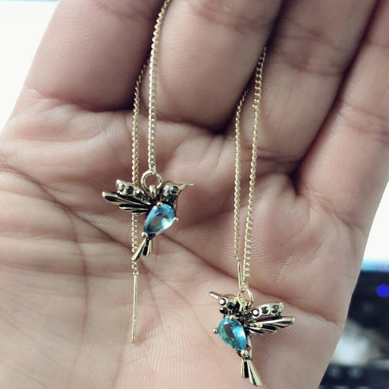 2 Style Elegant Birdie Ear Stud Earrings Rhinestone Dangle Long Tassels Earring for Women Hoop earrings Wedding Jewelry