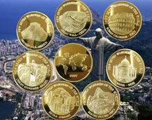 105PCS ใหม่สกุลเงินเหรียญ Seven Wonders of the World เหรียญที่ระลึก Petra พระเยซูคริสต์ผู้ไถ่ถอน Machu Picchu chichen Itza