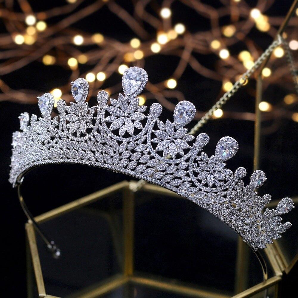 Новые циркониевые хрустальные короны, тиара, Свадебные короны, аксессуары для волос, свадебные диадемы принцессы, женские вечерние украшен...