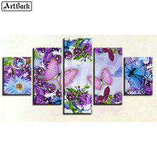 Five spell diamond painting butterfly flower 5d full square drill resin mosaic crafts home decoration stickers