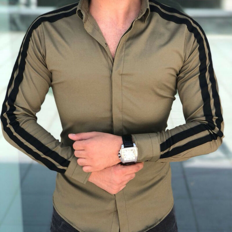 New Men Fashion Luxury Casual Stylish Slim Fit Long Sleeve Dress Shirts Party Wedding Business Shirts