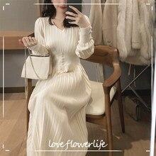 Vestido de malha feminina casual manga longa vintage elegante escritório camisola vestido feminino 2021 primavera vestido de uma peça coreana outerwear