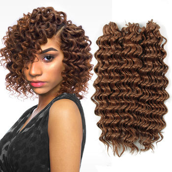 ombre braiding hair extensions deep wave braids Bohemian Hair freetress 3pcs/pack 10'' curly crochet braid - discount item  29% OFF Synthetic Hair