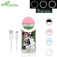 Roreta led selfie anel luz de preenchimento usb lâmpada anel regulável com mini tripé para telefone inteligente para youtube tik tok ringlight