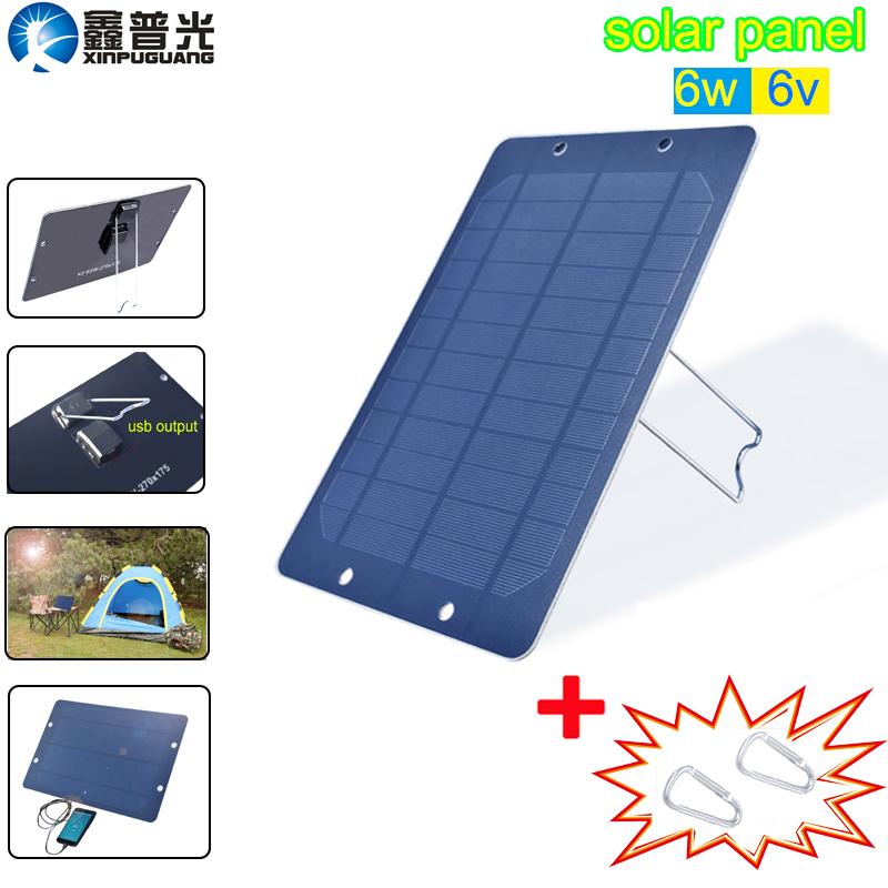 xinpuguang Flexible <font><b>Solar</b></font> <font><b>Panel</b></font> <font><b>6v</b></font> <font><b>6w</b></font> Portable 5v usb charger for mobile cellphone light battery charger camping hiking outdoor image