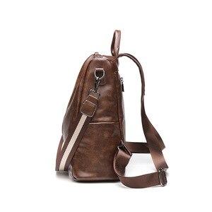 Image 3 - 2019 Vintage Bayan Sırt Çantası Yüksek Kaliteli Gençlik Deri gençler için sırt çantaları Kızlar Kadın Okul omuzdan askili çanta Sırt Çantası mochila