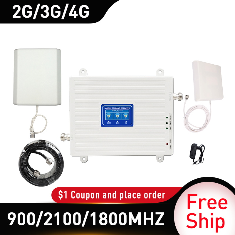 4g Booster 900/1800/2100MHZ GSM DCS WCDMA LTE 2G 3G 4G Tri-Band Mobile Signal Booster Gain 75 GSM Cellular Repeater 4g Amplifier