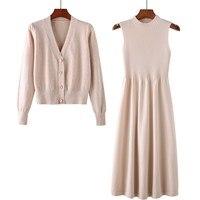 Sweater Dress Two Piece Set Women Dress Suit Retro Wind Knit Dress Set Coat And A Line Mid Dress Outfits
