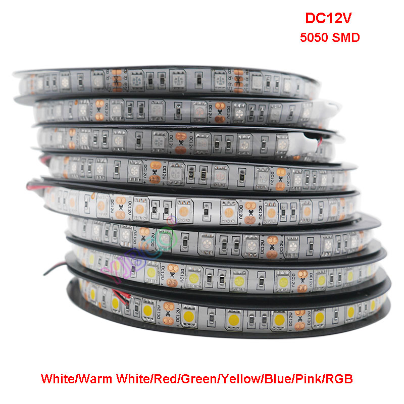 5m DC12V 5050 SMD 60LEDs/m Led Strip White/Warm White/Red/Green/Yellow/Blue/Pink/RGB/UV/RGBW/RGBWW Flexible Led Tape