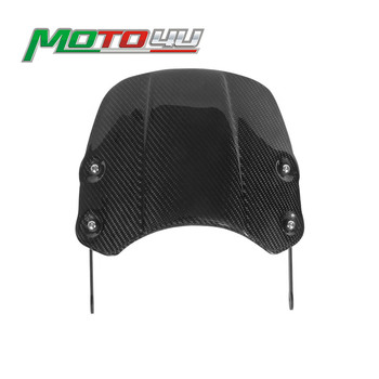 Carbon Fiber Motorcycle Windscreen Windshield Shield Screen Protection With bracket For Triumph Bonneville T100 T120 Thruxton