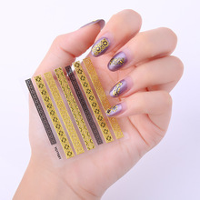 30pcs/lot Lace nail stickers cross-border  pieces bronzing lace gold line brushed N012