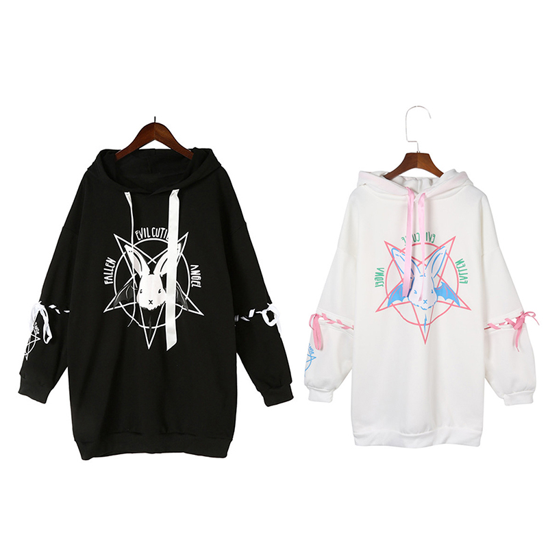 Harajuku Pentagram Print Lace Up Women Fleeces Hoodies Gothic Punk Oversize Velvet Hooded Sweatshirt Pullover Streetwear
