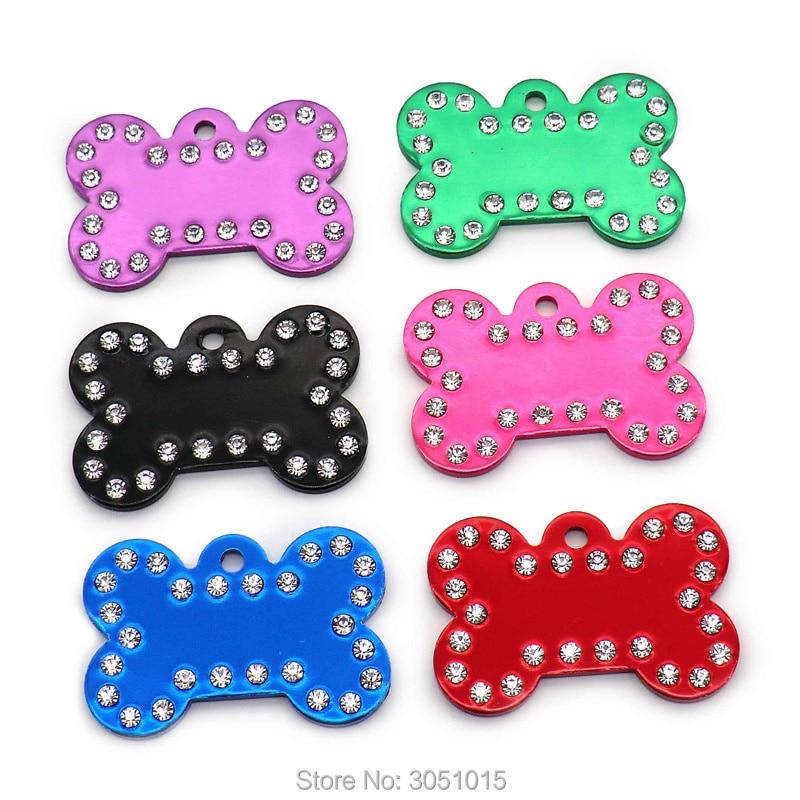 Wholesale 100Pcs 2MM Dog Bone Diamond Decor Pet Id Tag Custom Engraved Pet Name Phone Number