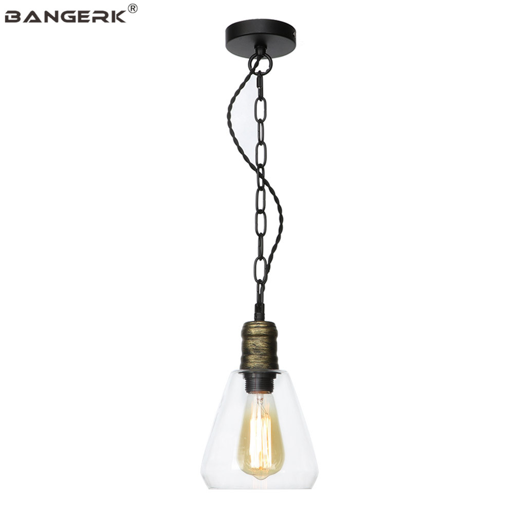 American Vintage Pendant Light Iron Glass Industrial Edison LED Hanging Lamp Loft Decor Dining Room Bar Home Lighting Luminaire