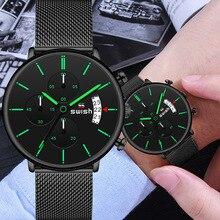 حفيف 2020 الرجال ساعة ساعة كوارتز الرياضة مقاوم للماء ساعات المعصم العلامة التجارية الفاخرة الرجال الفولاذ المقاوم للصدأ ساعة اليد الذكور Reloj