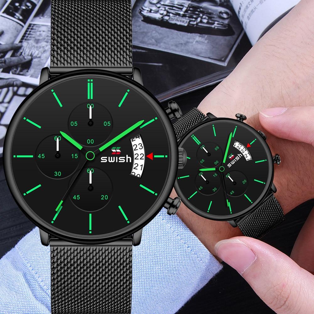 SWISH Men Watch Quartz Watch Man Sports Waterproof Wrist Watches Luxury Brand Men Stainless Steel Wristwatch Mens