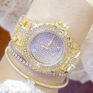 Image 5 - Женские наручные часы с кристаллами, полностью алмазные часы из нержавеющей стали