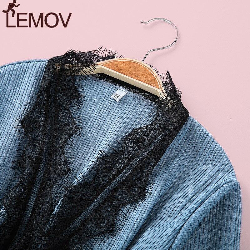 LEMOV 3PCS Pyjama Femme Long Sleeve Pijama For Women Sleepwear Set Cotton Home Clothes Pajamas Sets Sexy Lace Robe Pajamas in Pajama Sets from Underwear Sleepwears