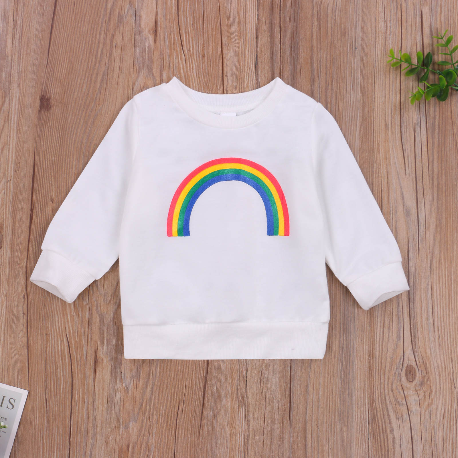 Pudcoco 2020 Autumn 0-3Y Toddler Baby Girl Boy Rainbow Pattern Print Long Sleeve Sweatshirt Infant Outfit Clothes White/Black 2