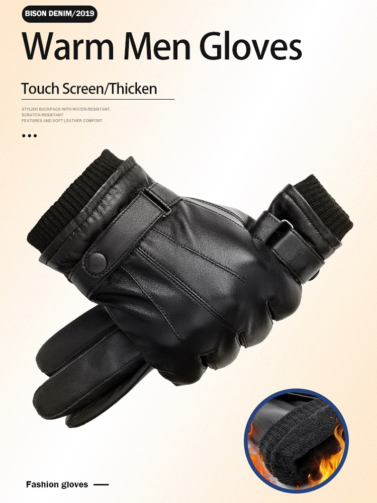 Gloves Sheepskin Touch-Screen Winter Warm Full-Finger Bison Denim Autumn Men Black S019