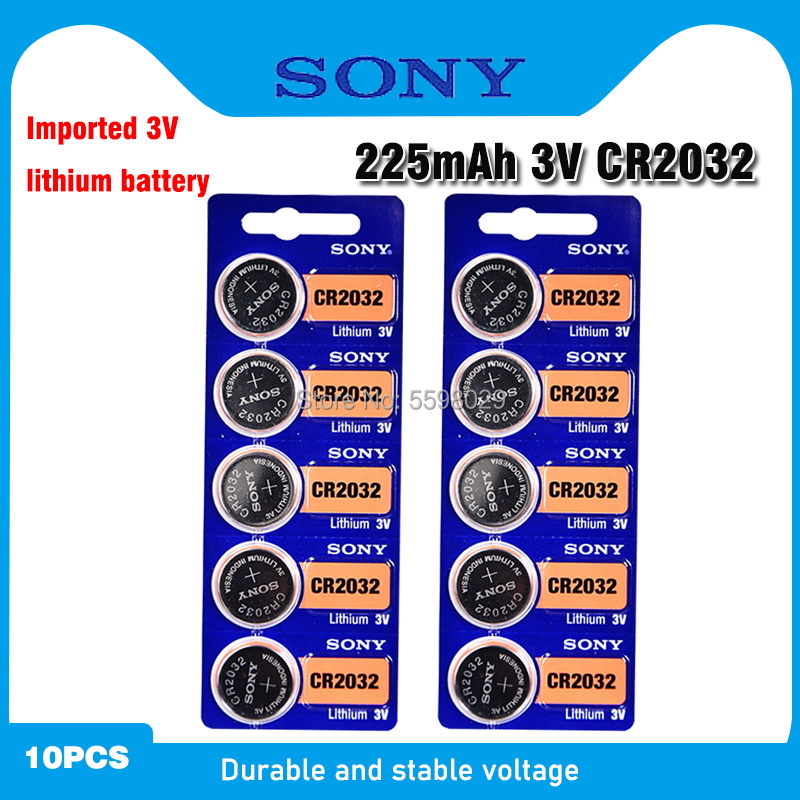 10pcs For SONY CR2032 Lithium Button Coin Cell Batteries 3V CR 2032 DL2032 ECR2032 BR2032 Battery For Watch Electronic Remote(China)