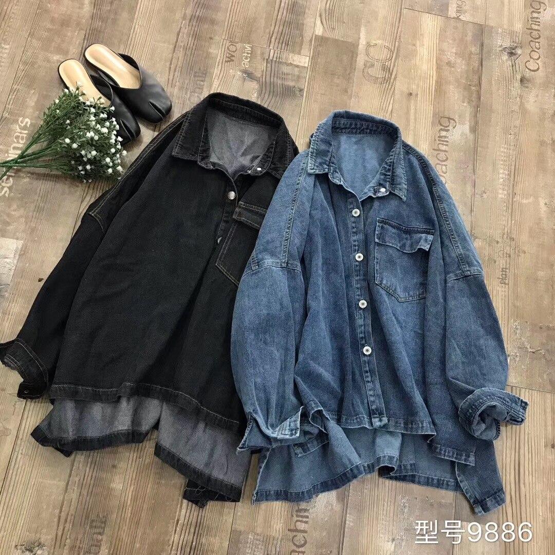 Quelques tranches de coton original lin robe pour femme 2019 automne nouveau Style littérature et Art rétro jean manteau ample et Plus-si
