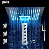Bathroom Shower Faucet Set 400*400mm Rain waterfall Mist Showers LED Light Embedded Ceiling Thermostatic Valve Showerhead