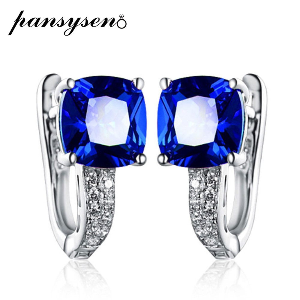 PANSYSEN Clip Earrings Ruby Fine-Jewelry Quartz Gemstone Sapphire 100%925-Sterling-Silver title=