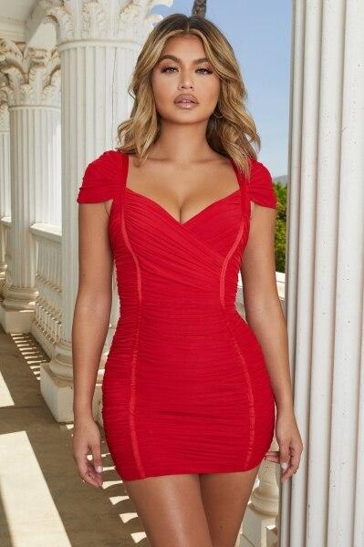 Sexy dresses deep V neckline revealing back slim figure thin socialite temperament dinner club dress gauze bandage gown