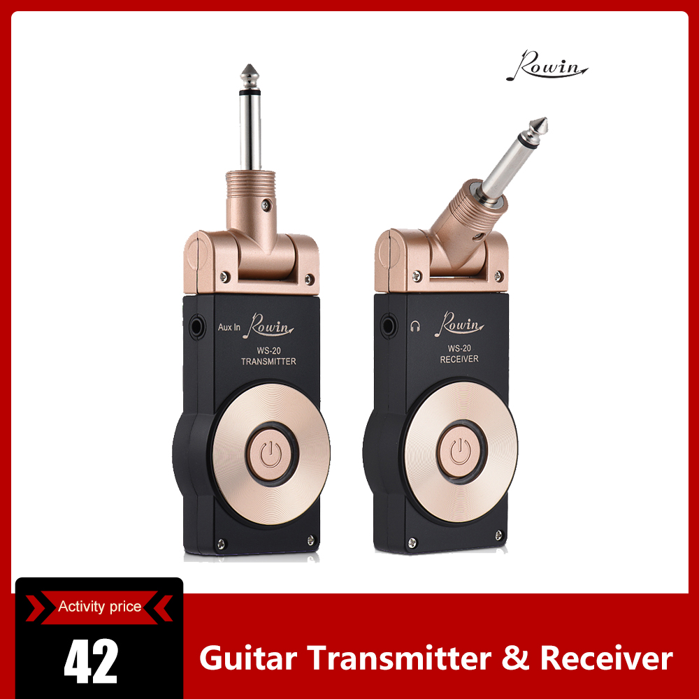 Rowin WS-20 2.4G Wireless Rechargeable Electric Guitar Transmitter Receiver Set