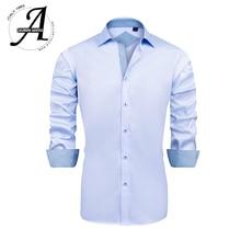 Men Bamboo Fiber Elastic Casual Shirts Regular Fit Non-iron Long Sleeve Dress