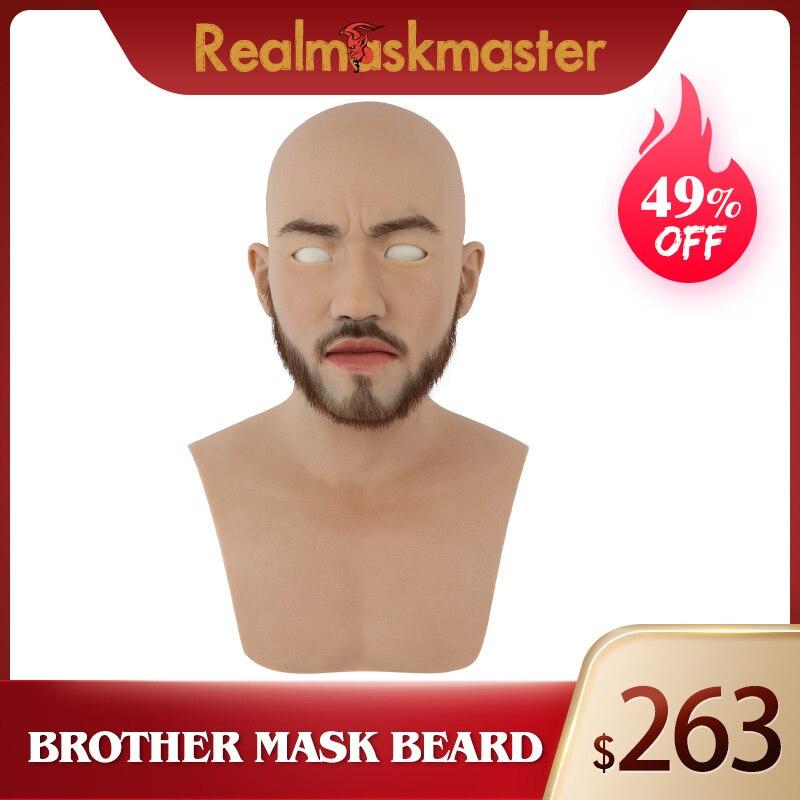 Realmaskmaster silicone halloween masque de barbe visage complet fournitures de fête mâle fétiche masques de peau humaine