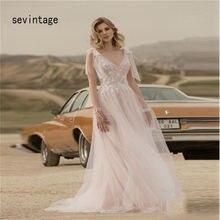 Платье женское свадебное в богемном стиле с v образным вырезом