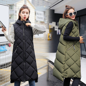 Solid Long Women's Sleeveless Down jacket Korea Hooded Padded Vest Woman Loose Mixi 2020 Fashion Casual Winter Coat For Women 1