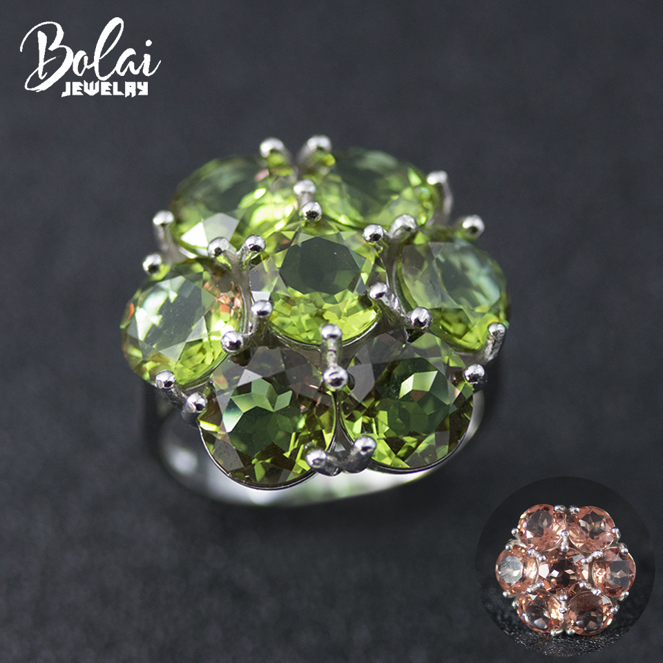 Bolai 11ct Zultanit Ring 925 Sterling Silver Color Change Nano Diaspore Pink Green Gemstone Fine Jewelry for Women's Party 11.11