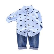 Toddler Boys Clothes Autumn Clothing Kids Costume Baby Casual Long Sleeve Crown Print Blouse Tops+Denim Pants Trouser Sets