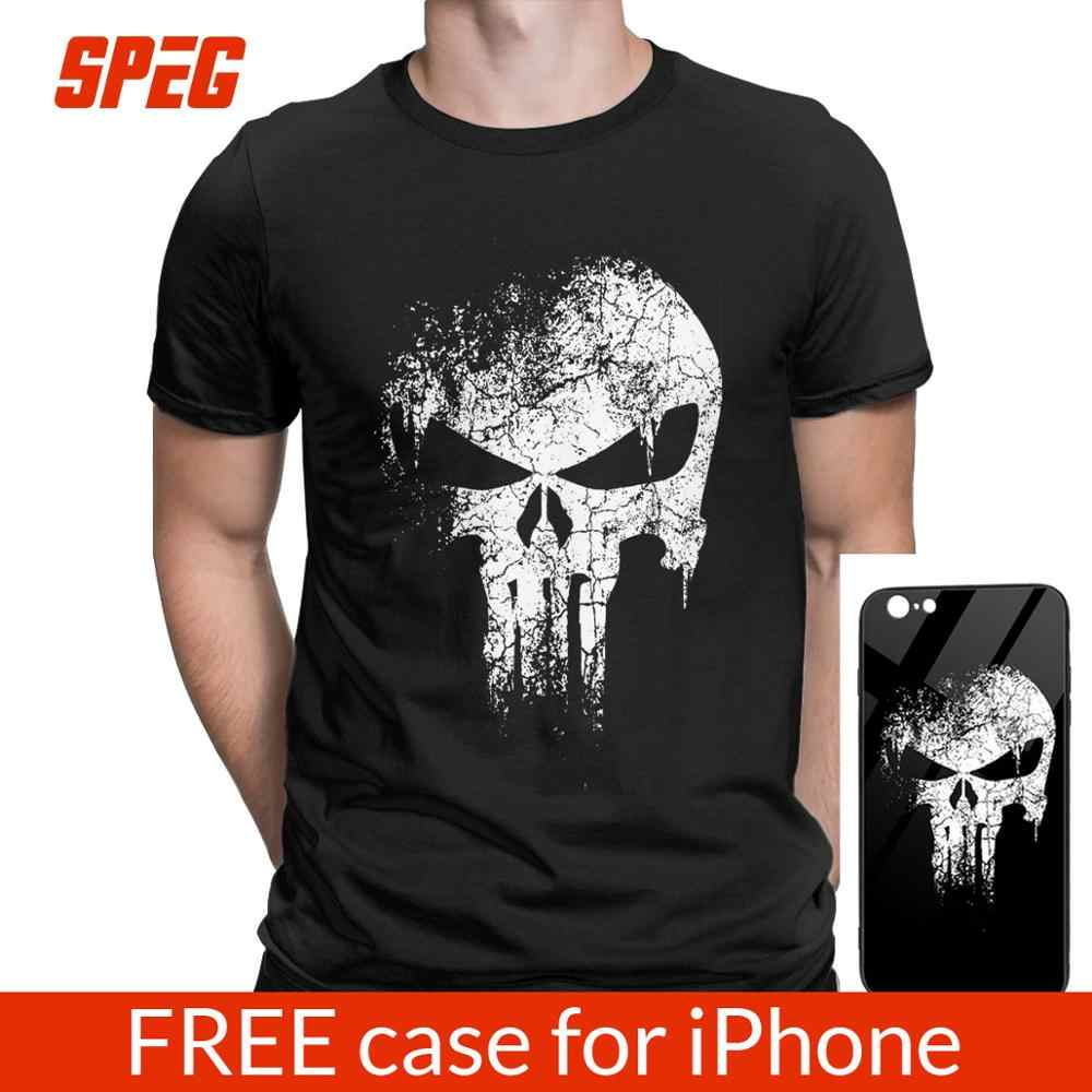The Punisher Skull Supper Hero camisetas hombres camiseta Tops camisetas marca ropa Fitness Streetwear Camisetas talla grande 4XL 5XL