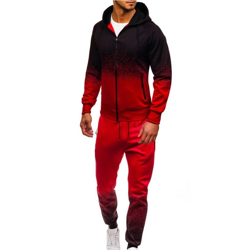 SHUJIN Mens Tracksuit Jogging Top Bottom Sport Sweat Suit Gradient Color Hoodies Hip Hop Harajuku Streetwear Zipper Sportswear
