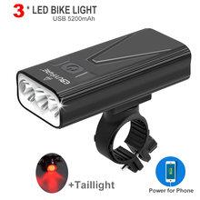 Farol para bicicleta de 3000lm, conjunto de faróis para bicicleta com banco de potência, 5200mah, recarregável por usb, 3 * led, à prova d' água, mtb, ciclismo, acampamento lâmpada de luz
