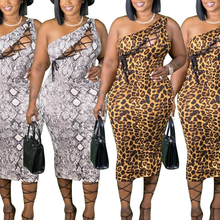 AYES Plus Size Dresses For Women Summer 2021 Leopard Print Casual Single Sleeve Large Size Dress Bodycon Bandage New Maxi Dress