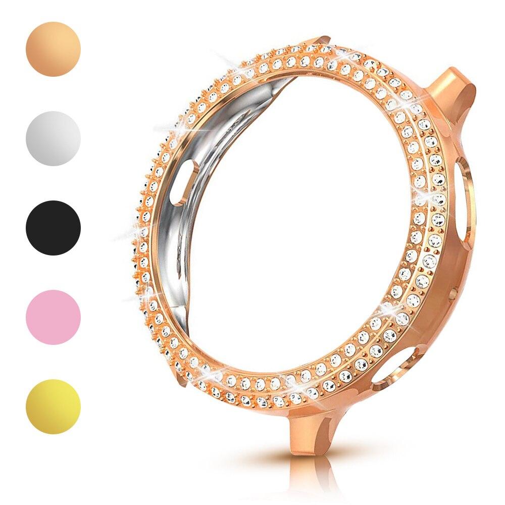 Модный двухрядный алмазный поликарбонатный бампер для Samsung Galaxy Watch Active 2, чехол 40 мм 44 мм Active2, женская блестящая тонкая обложка, аксессуары