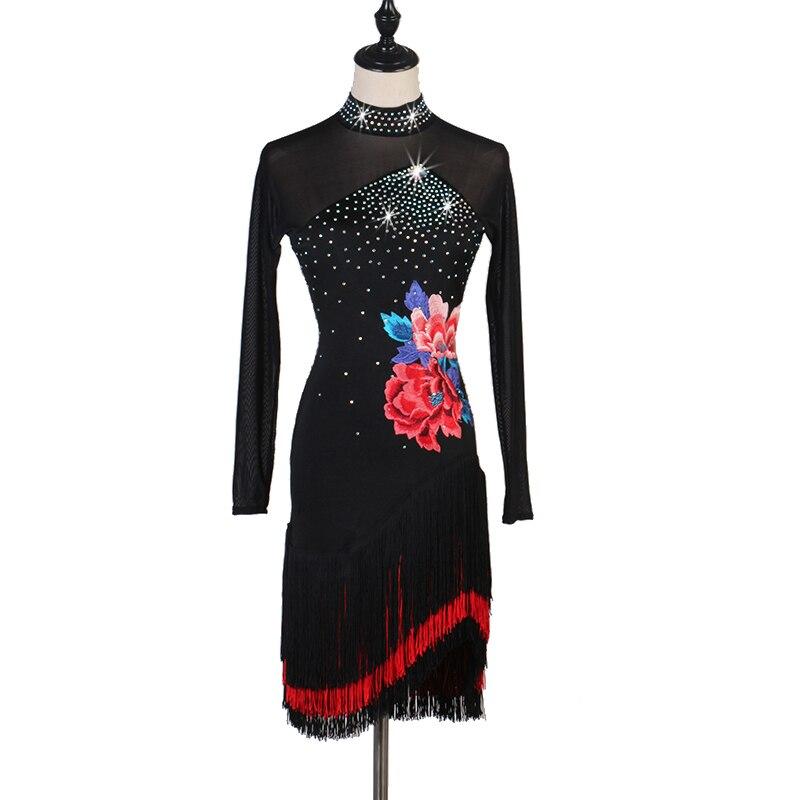 Embroidery Latin Dance  Dress Women Tango Salsa Samba Rumba Cha Cha Fringe Competition Performance Dresses Customized DC3348