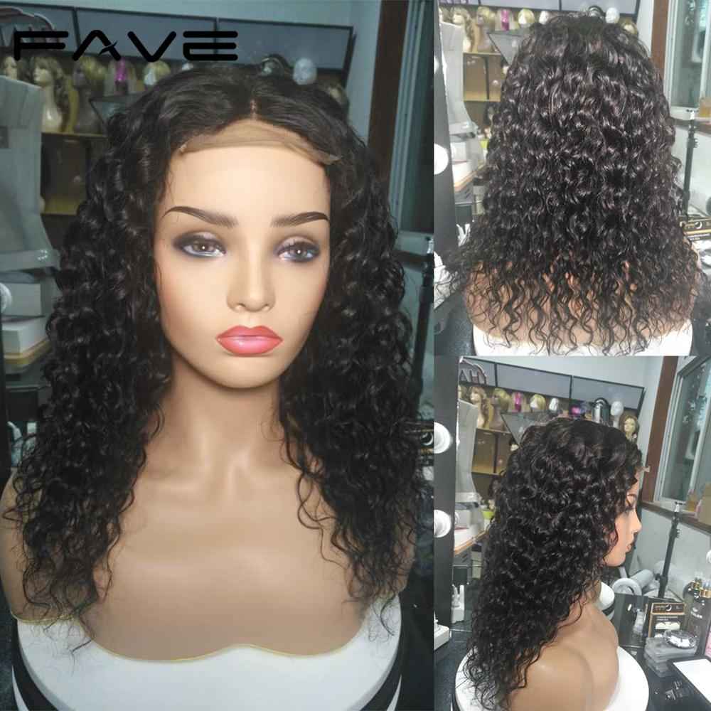 FAVE Closure Wigs 100% Brazilian Remy Human Hair Wig 4*4 Lace Closure Water Wave Wigs Pre Plucked Bleached Knots For Black Women-in Human Hair Lace Wigs from Hair Extensions & Wigs    3