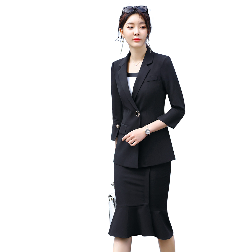 Black Skirt Suit Woman 2020 Spring New 3/4 Sleeve Jacket Mermaid Skirt 2 Piece Set Temperament Interview Skirt And Jacket Set