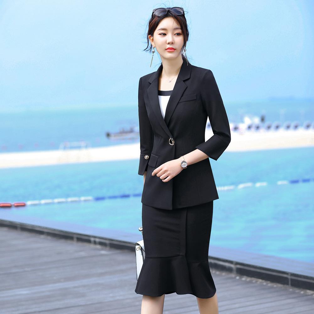 Black Skirt Suit Woman 2020 Spring New 3/4 Sleeve Jacket Mermaid Skirt 2 Piece Set Temperament Interview Skirt And Jacket Set