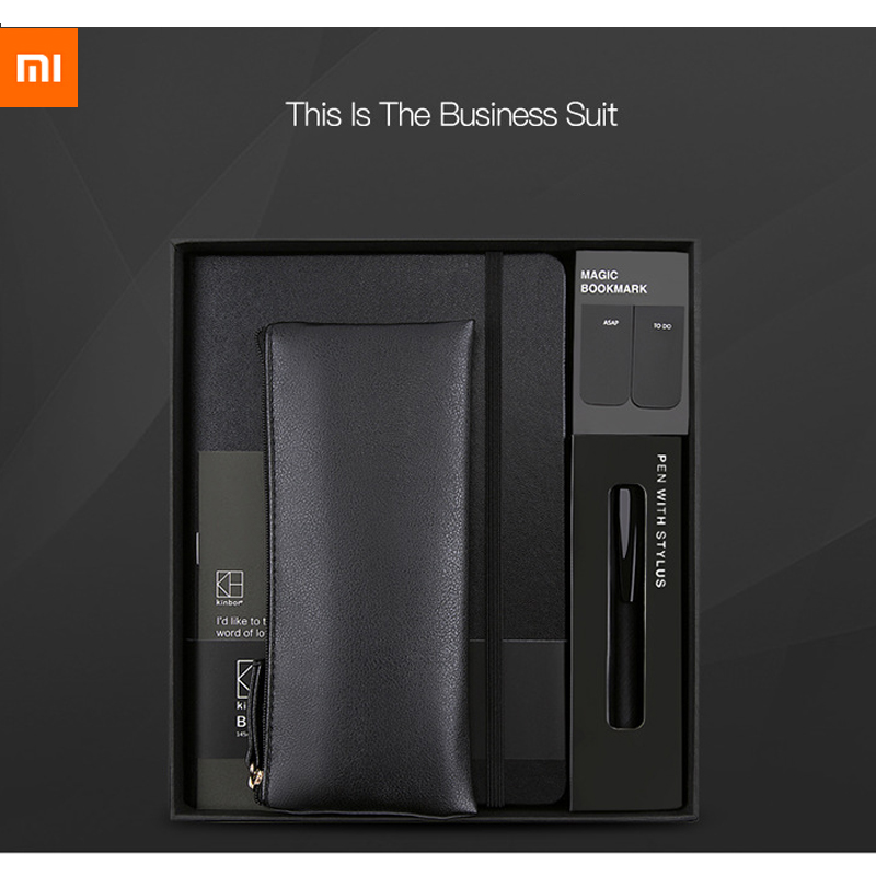 New Xiaomi Youpin Kinbor Business Suit Pen Notebook Bookmarks Pencil Case  Office Gift Suit Practical High Quality