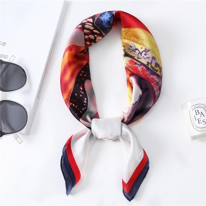 2020 New Simple Silk Scarf With Colorful Graffiti Pattern Women's Handkerchief High Quality Lady Work Neckerchief Fashion Shawl