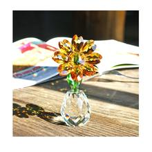 H&D Crystal Sunflower Figurine Glass Flower Collectible Ornament Paperweight Home Decoration Souvenir Christmas Birthday Gift
