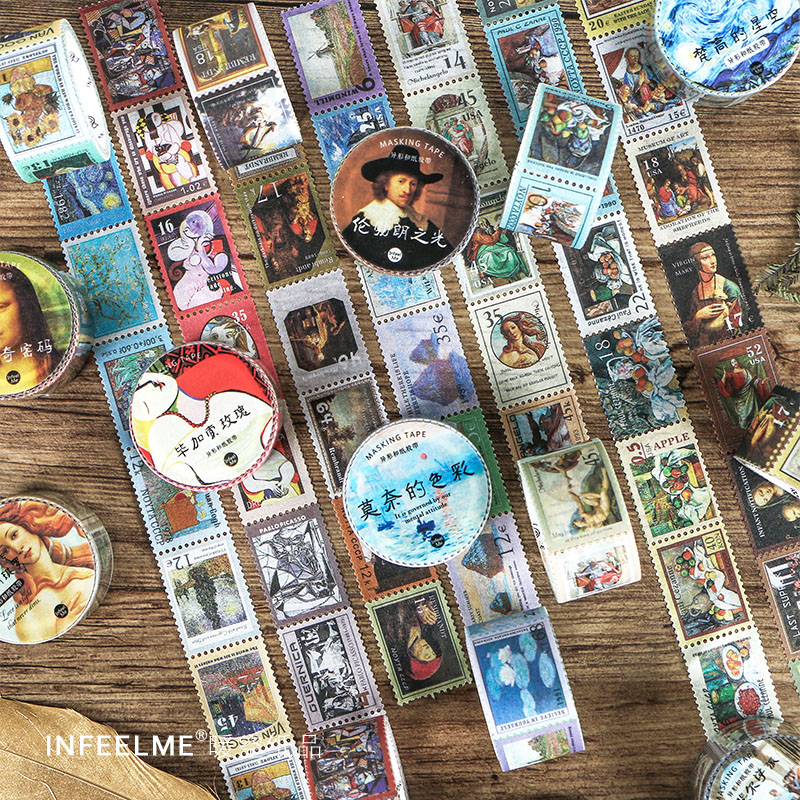 Vintage Famous Artist Oil Painting Washi Tape Adhesive Tape Diy Scrapbooking Sticker Label Masking Tape